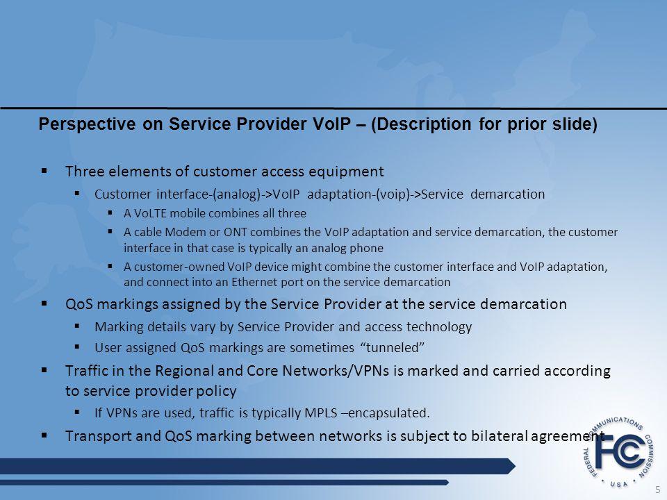 Perspective on Service Provider VoIP – (Description for prior slide)