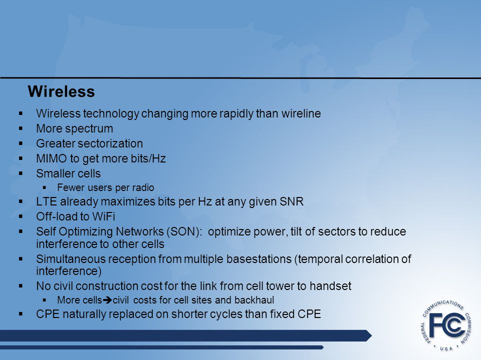 Wireless Wireless technology changing more rapidly than wireline
