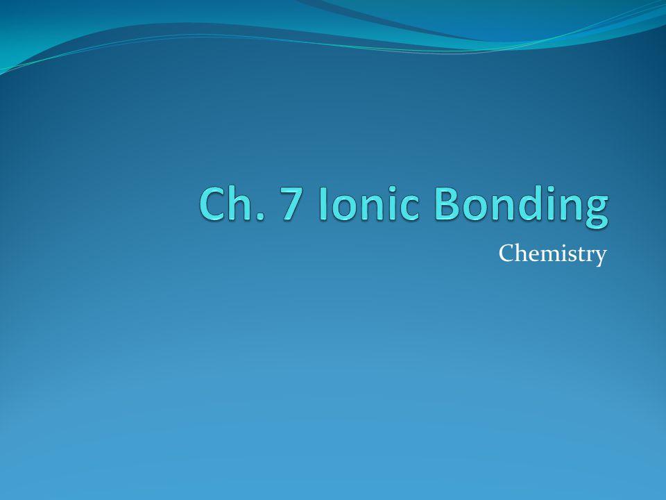 Ch. 7 Ionic Bonding Chemistry