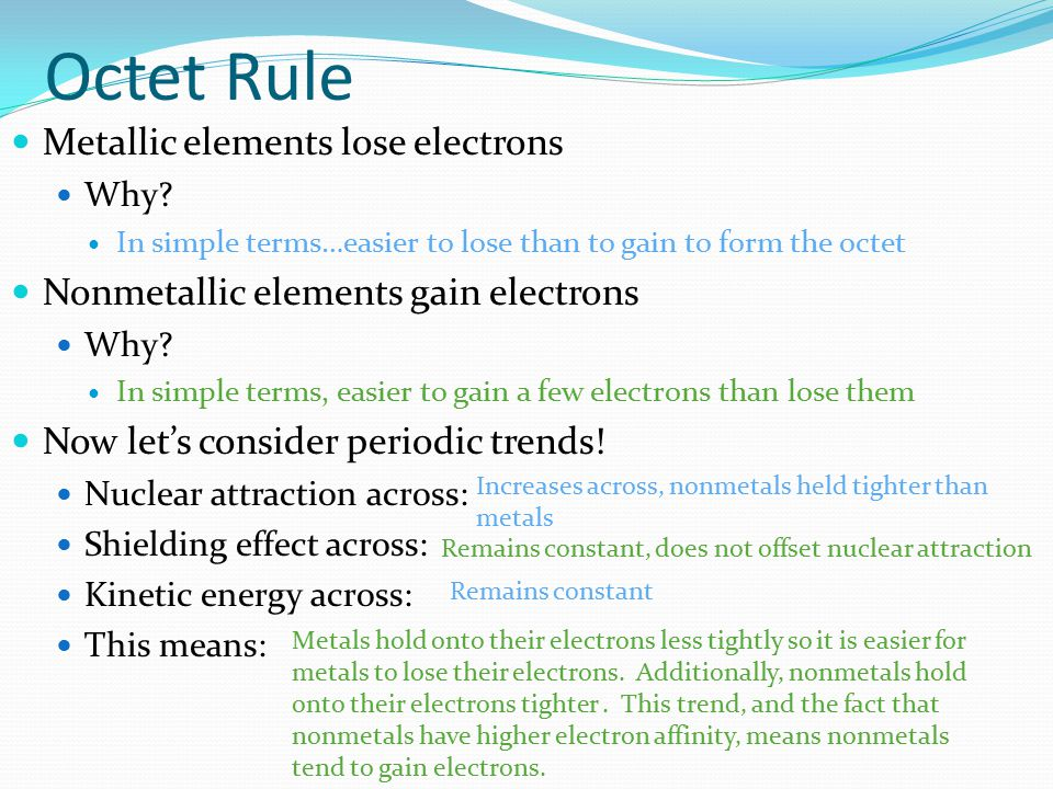 Octet Rule Metallic elements lose electrons