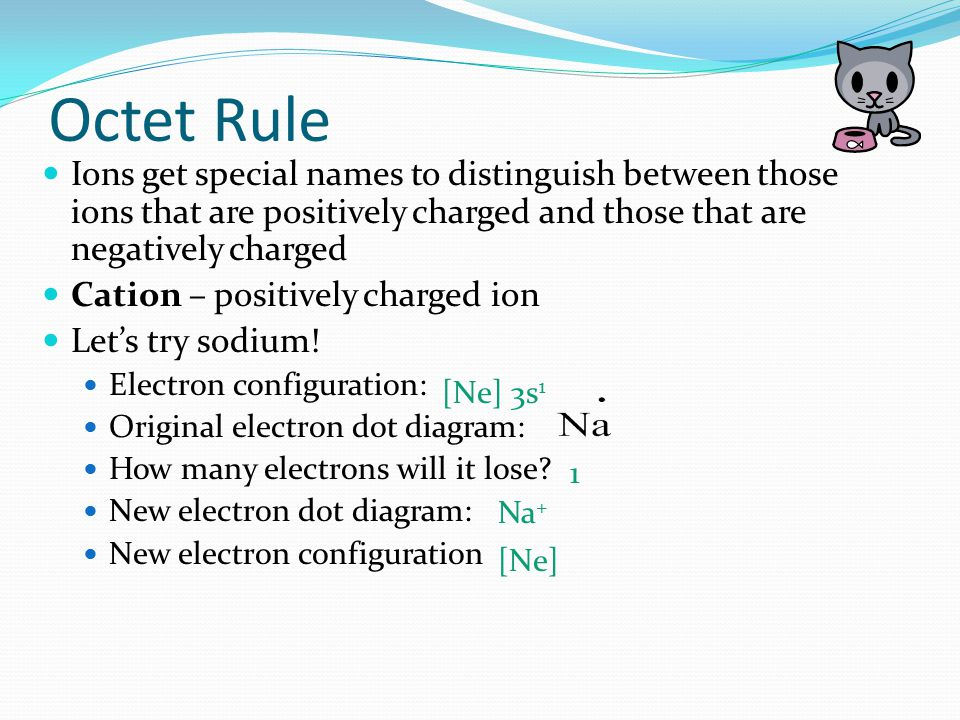 Octet Rule Ions get special names to distinguish between those ions that are positively charged and those that are negatively charged.