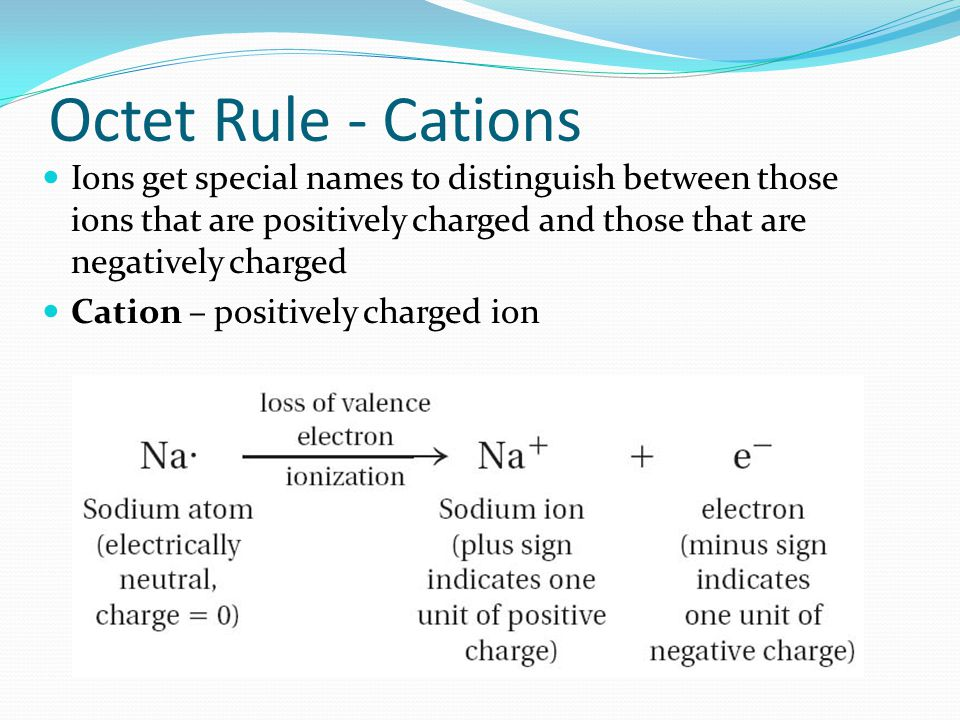 Octet Rule - Cations Ions get special names to distinguish between those ions that are positively charged and those that are negatively charged.