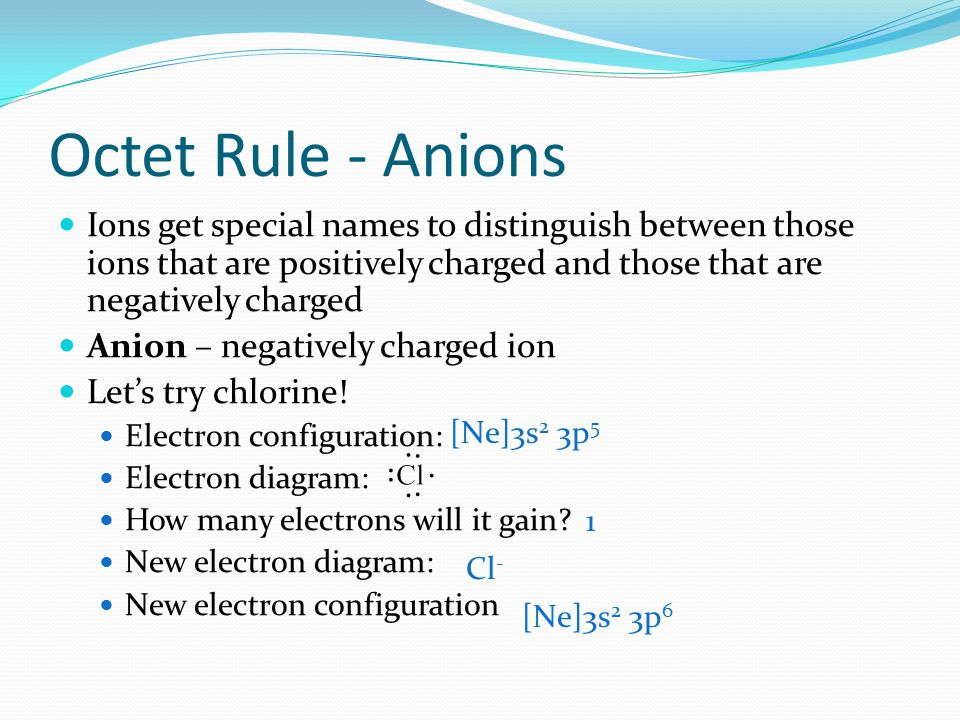 Octet Rule - Anions Ions get special names to distinguish between those ions that are positively charged and those that are negatively charged.