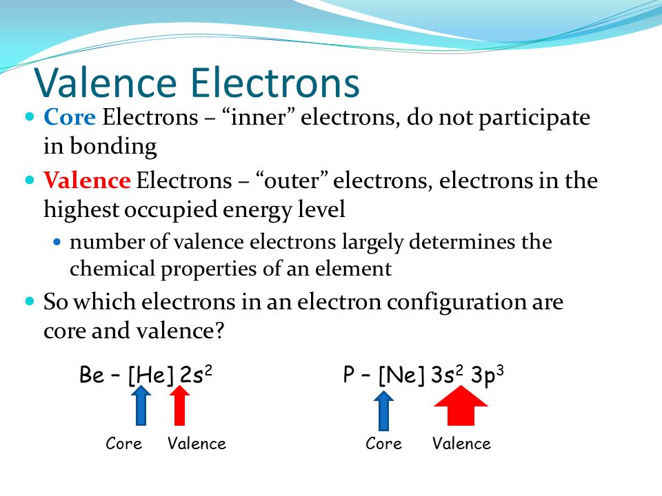 Valence Electrons Core Electrons – inner electrons, do not participate in bonding.