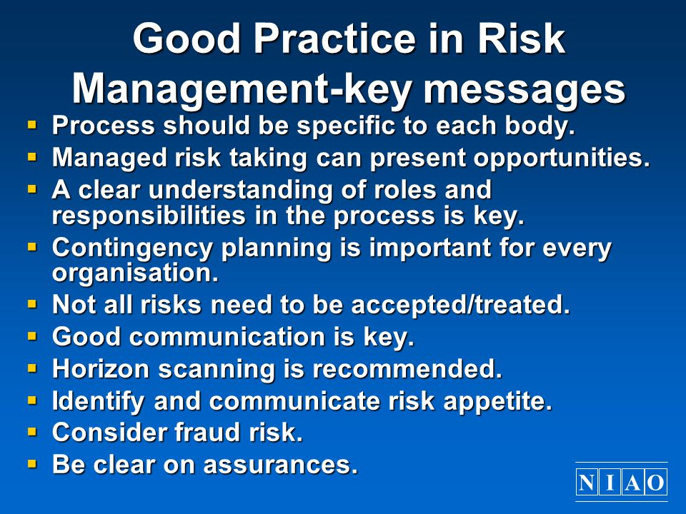 Good Practice in Risk Management-key messages