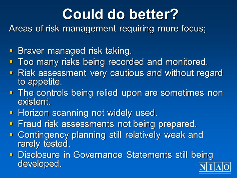 Could do better Areas of risk management requiring more focus;