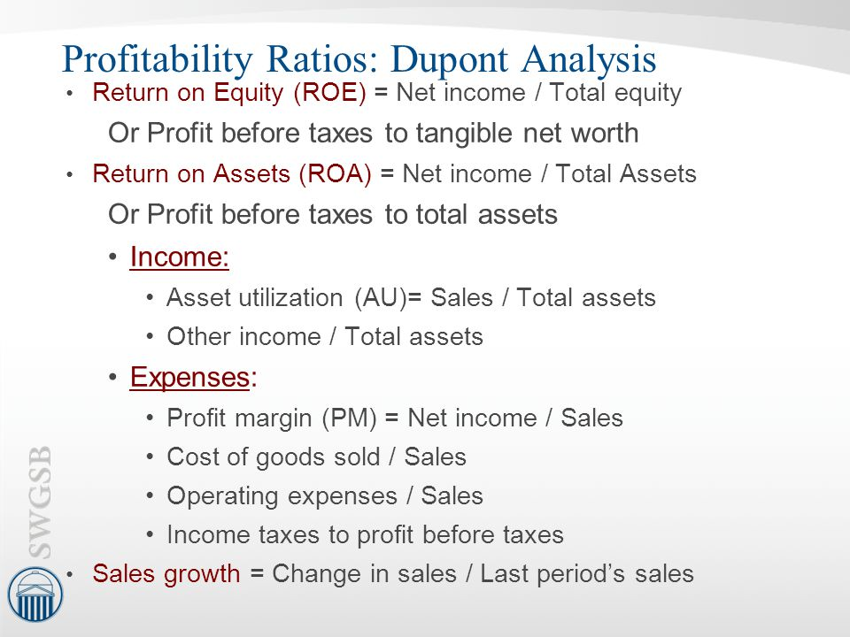 Profitability Ratios: Dupont Analysis