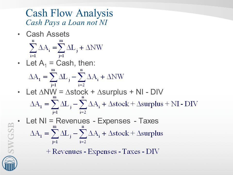 Cash Flow Analysis Cash Pays a Loan not NI