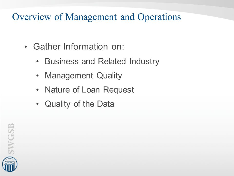 Overview of Management and Operations