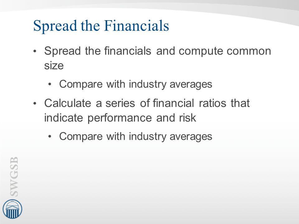 Spread the Financials Spread the financials and compute common size