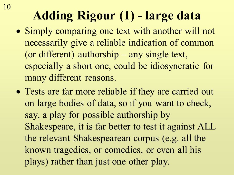 Adding Rigour (1) - large data