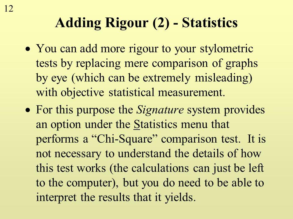 Adding Rigour (2) - Statistics