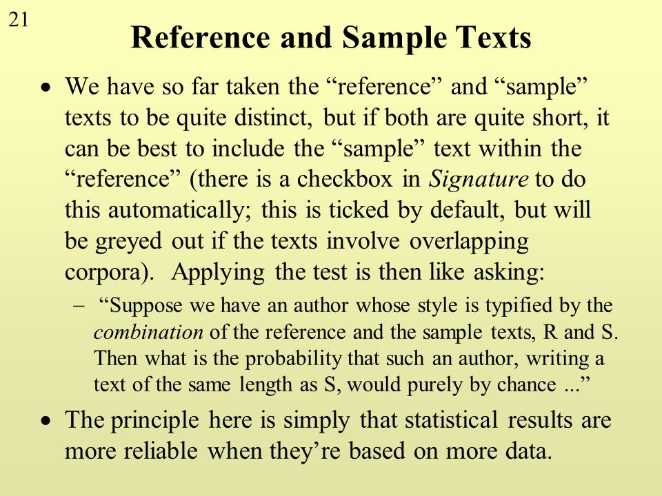 Reference and Sample Texts