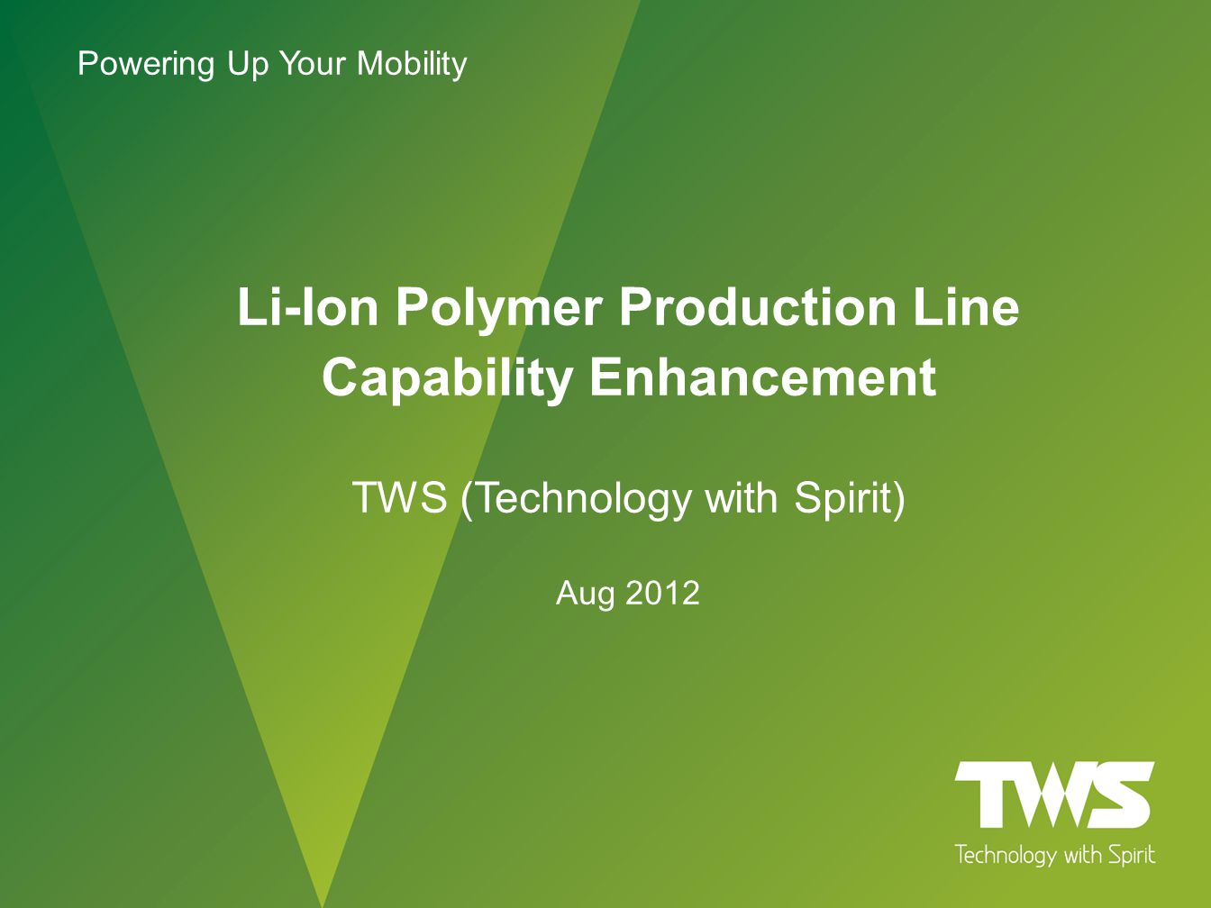 Li-Ion Polymer Production Line Capability Enhancement