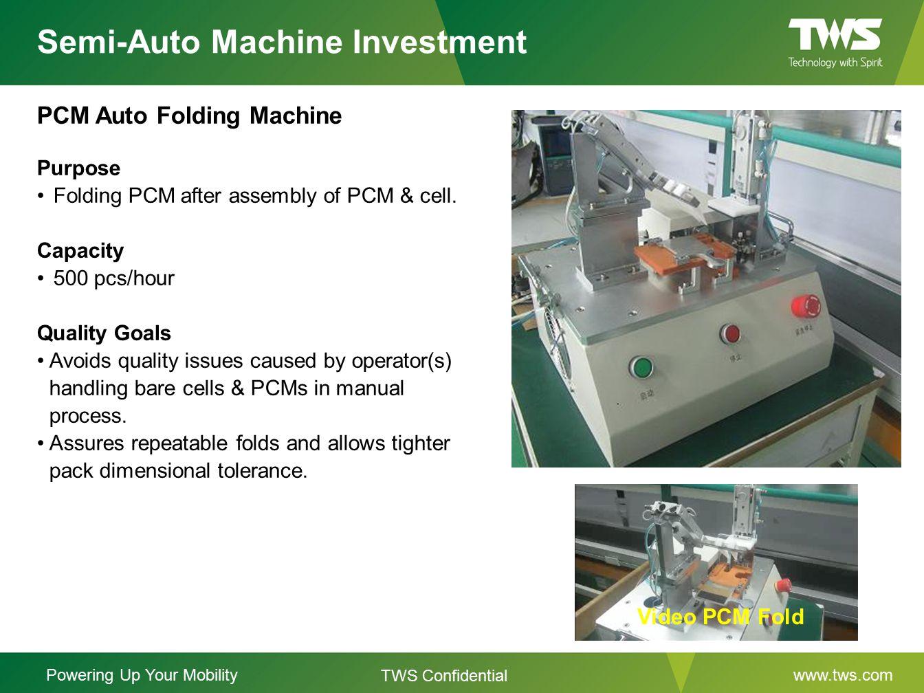 Semi-Auto Machine Investment