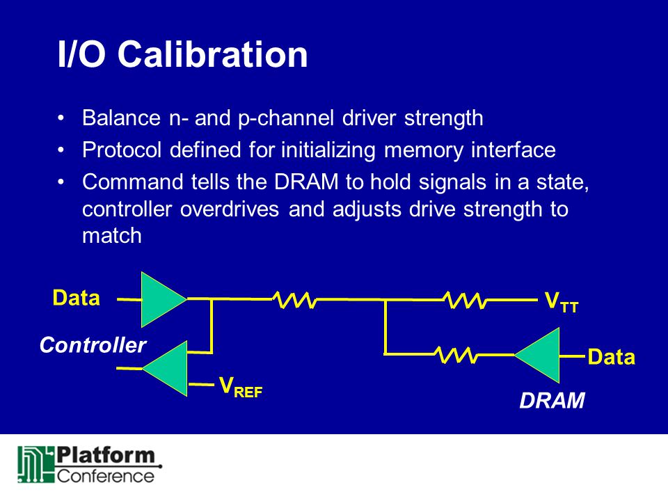 I/O Calibration Balance n- and p-channel driver strength