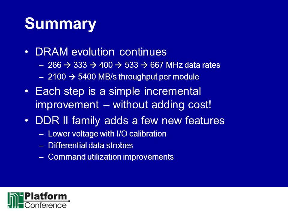 Summary DRAM evolution continues