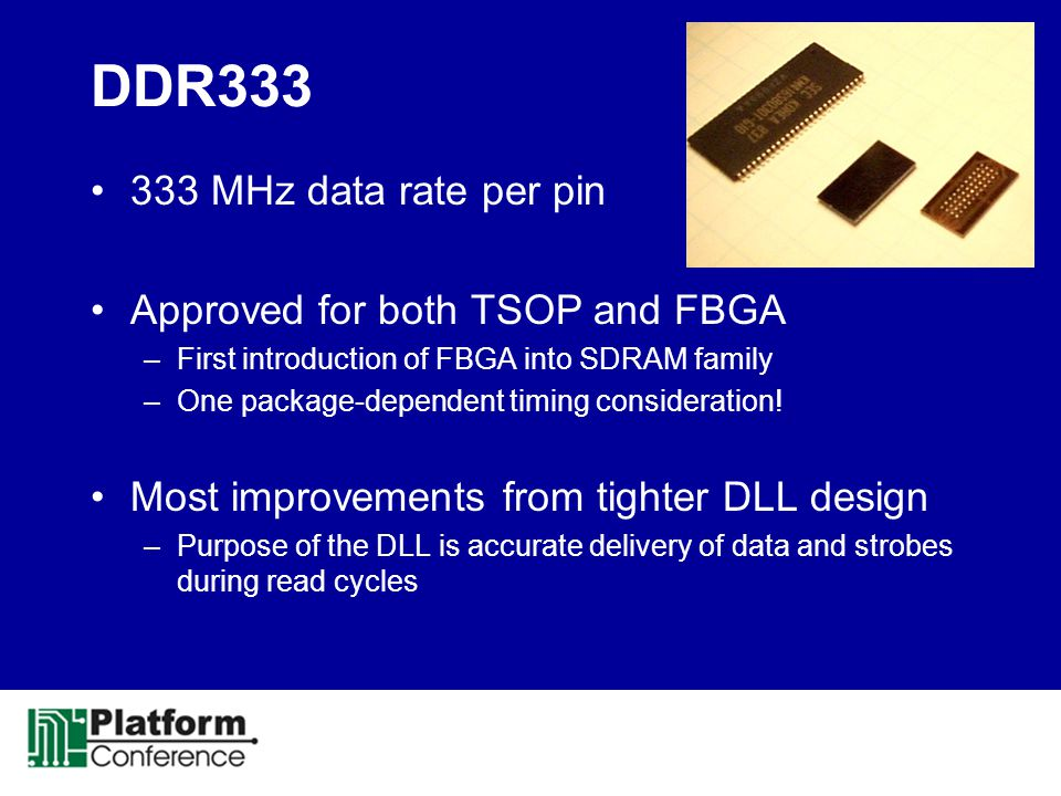 DDR333 333 MHz data rate per pin Approved for both TSOP and FBGA