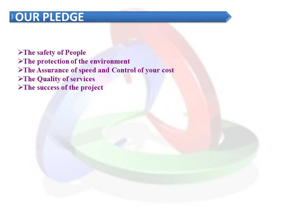 OUR PLEDGE The safety of People The protection of the environment