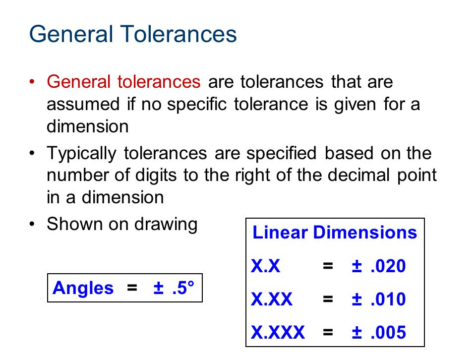 Presentation Name Course Name. Unit # – Lesson #.# – Lesson Name. General Tolerances.