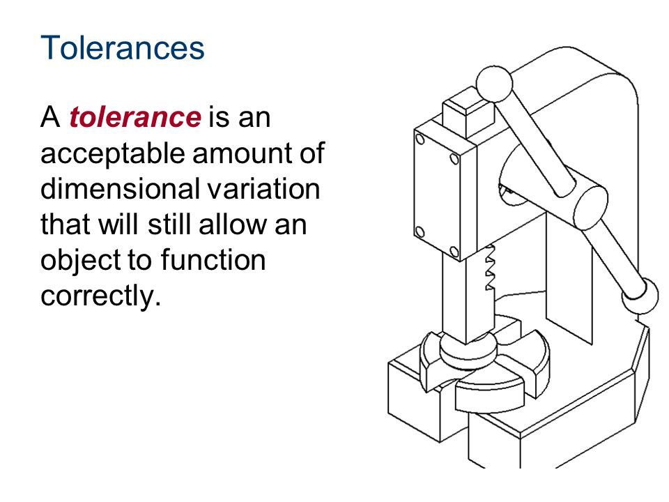 Tolerances A tolerance is an acceptable amount of dimensional variation that will still allow an object to function correctly.