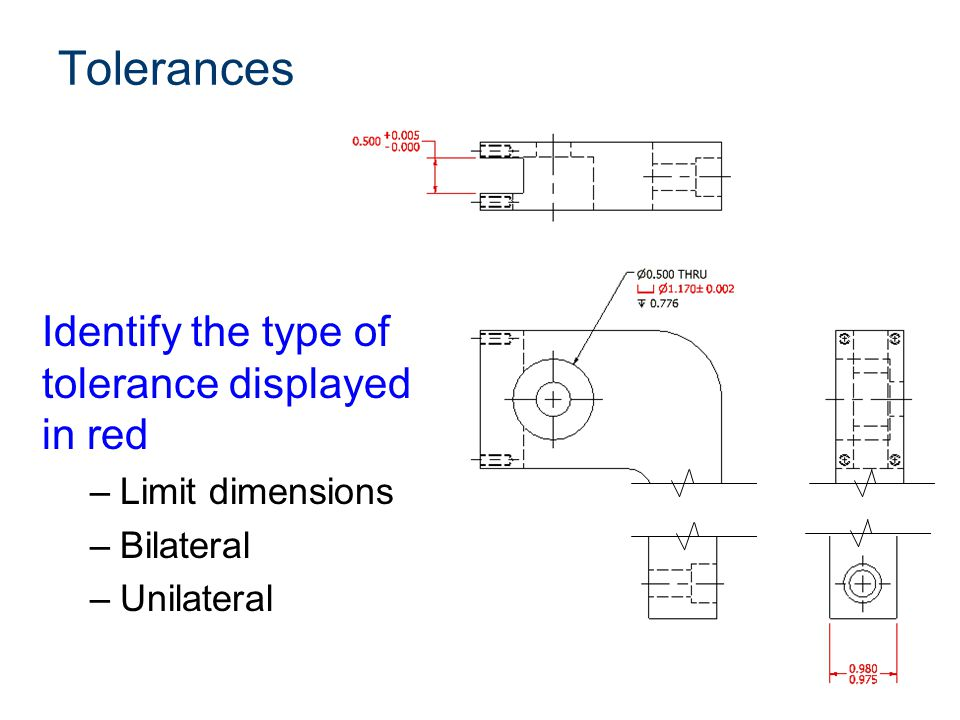 Tolerances Identify the type of tolerance displayed in red