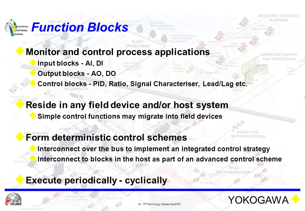 Function Blocks Monitor and control process applications