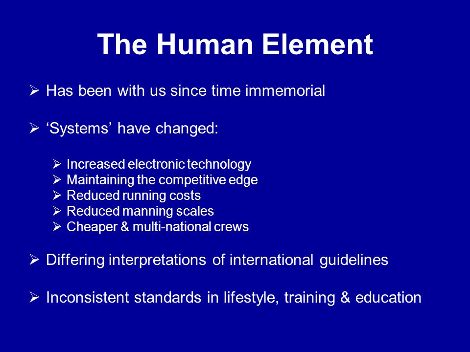 The Human Element Has been with us since time immemorial