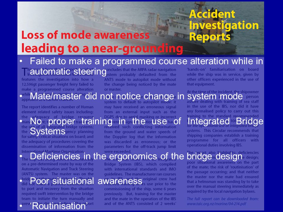 Failed to make a programmed course alteration while in automatic steering