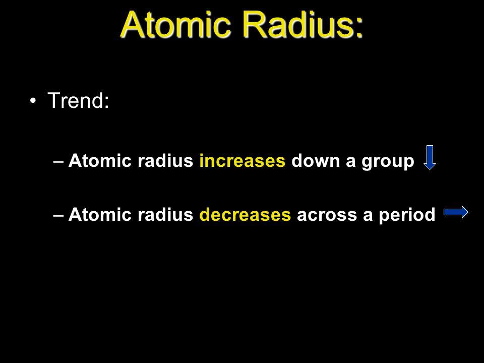 Atomic Radius: Trend: Atomic radius increases down a group