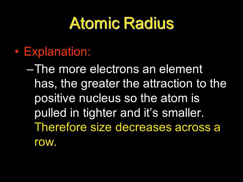 Atomic Radius Explanation: