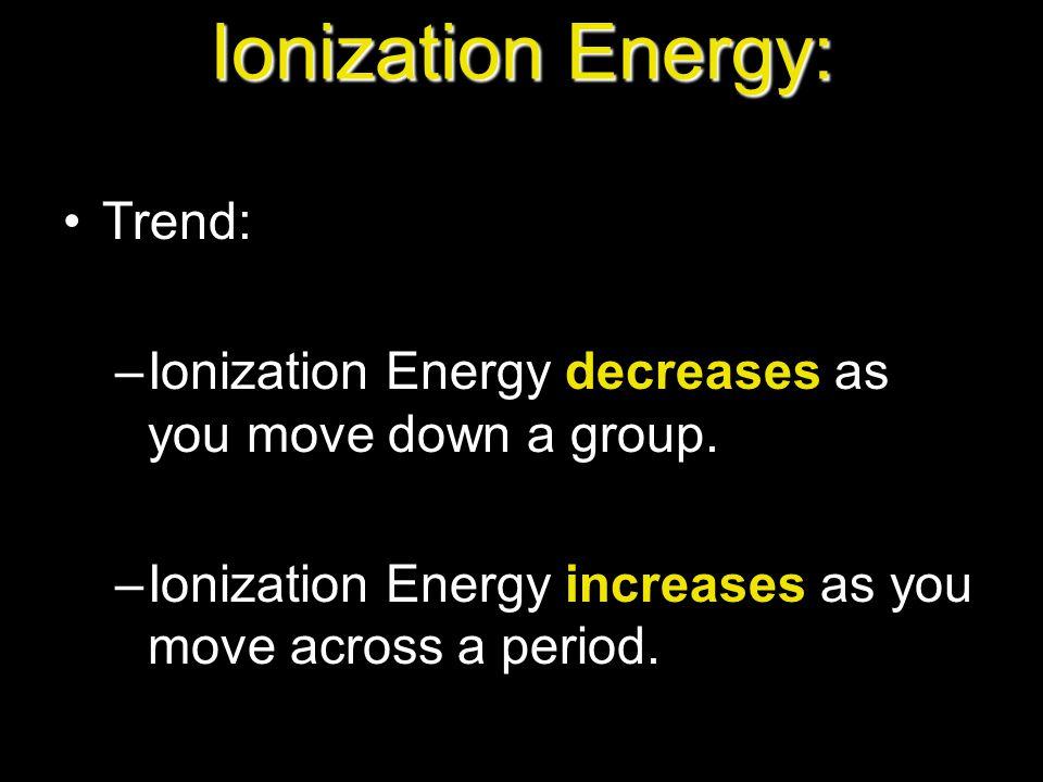 Ionization Energy: Trend: