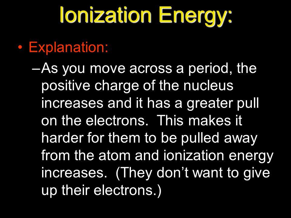 Ionization Energy: Explanation: