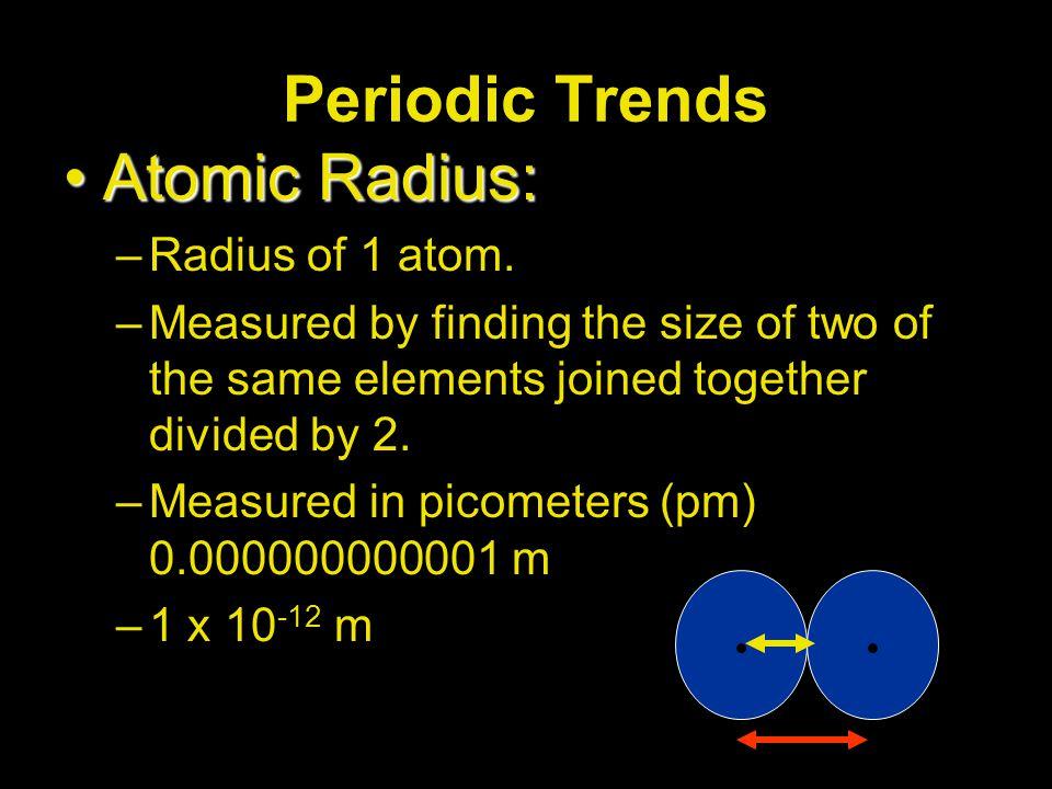 Periodic Trends Atomic Radius: Radius of 1 atom.