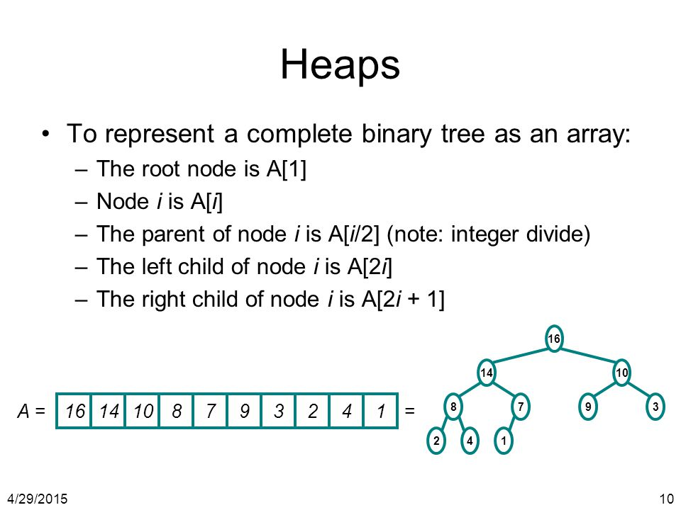 Heaps To represent a complete binary tree as an array: