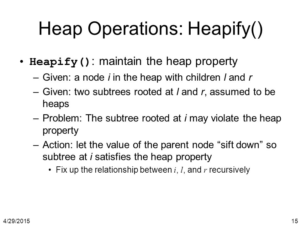 Heap Operations: Heapify()