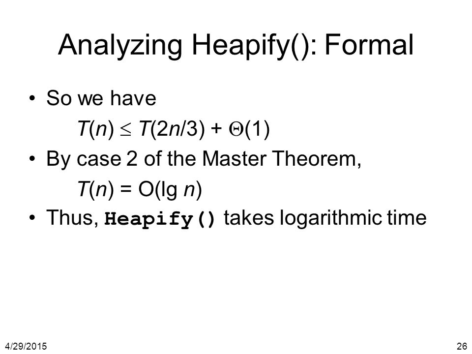 Analyzing Heapify(): Formal