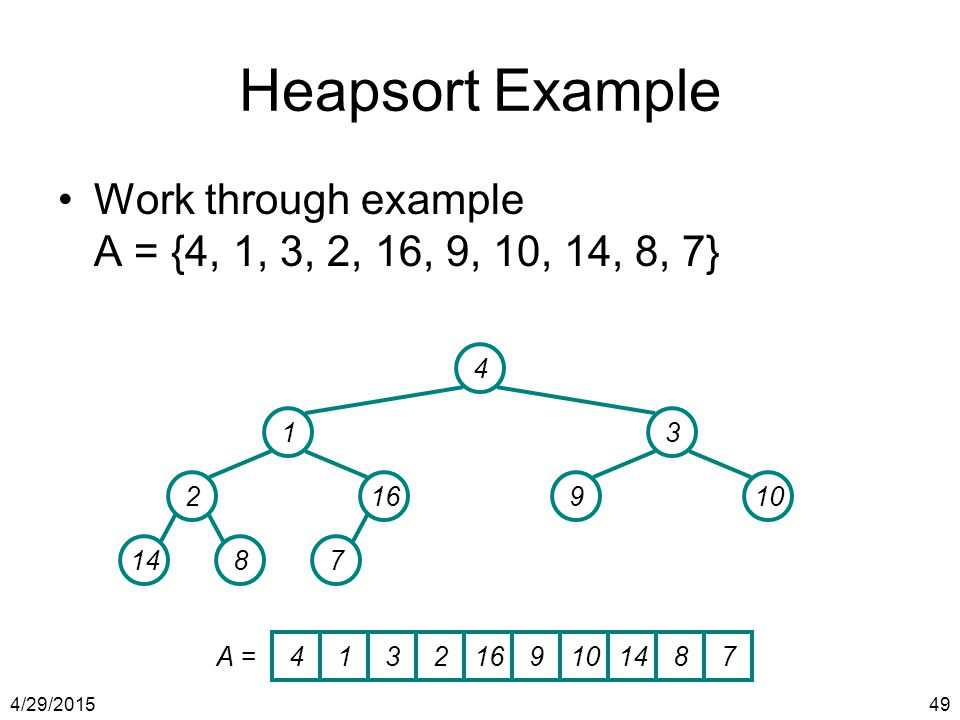 Heapsort Example Work through example A = {4, 1, 3, 2, 16, 9, 10, 14, 8, 7} 4. 1. 3. 2. 16. 9.