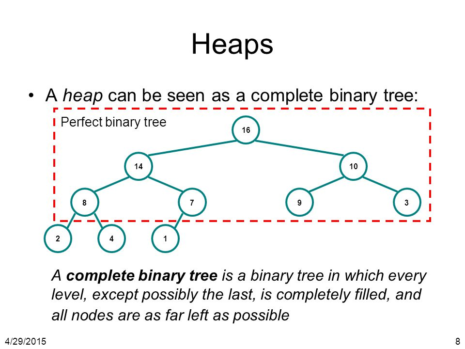 Heaps A heap can be seen as a complete binary tree: