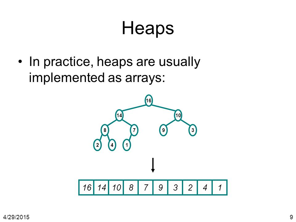 Heaps In practice, heaps are usually implemented as arrays: 16 14 10 8