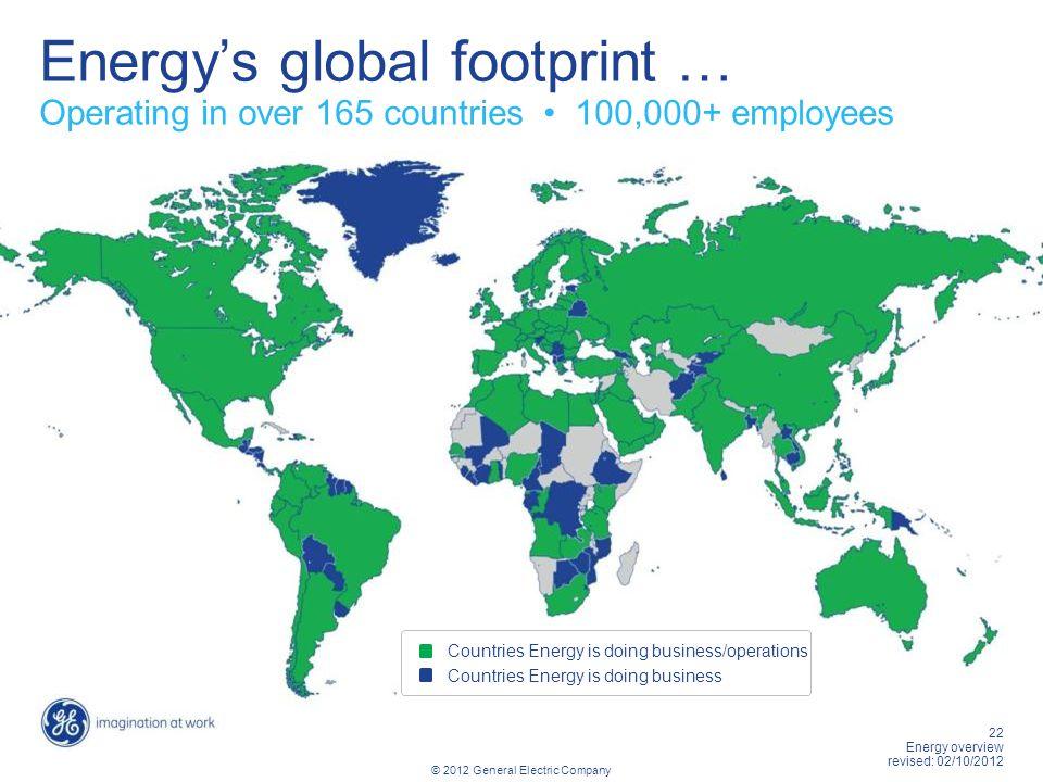 Energy's global footprint …