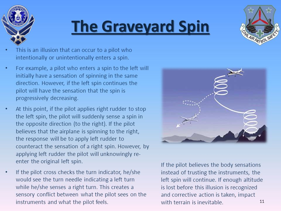 The Graveyard Spin This is an illusion that can occur to a pilot who intentionally or unintentionally enters a spin.