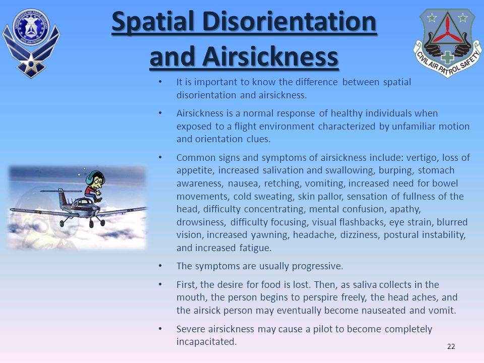 Spatial Disorientation and Airsickness