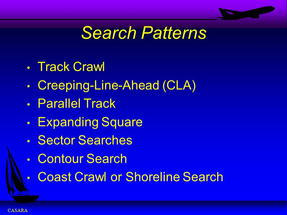 Search Patterns Track Crawl Creeping-Line-Ahead (CLA) Parallel Track
