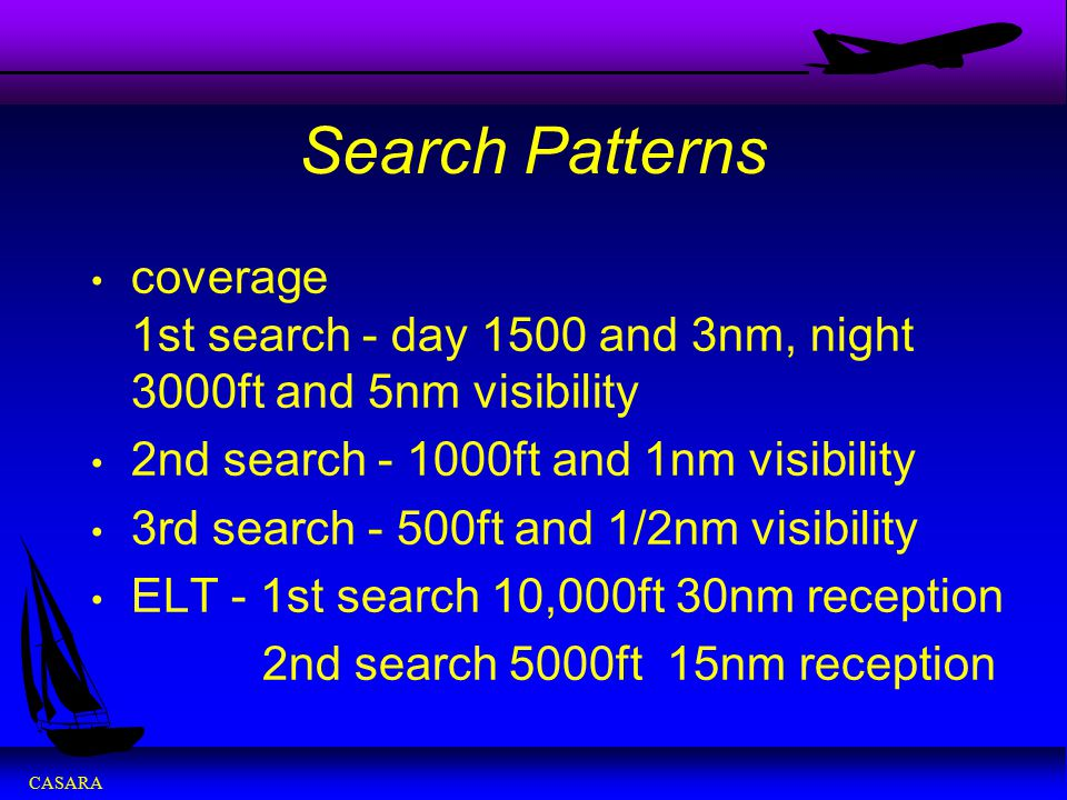 Search Patterns coverage 1st search - day 1500 and 3nm, night 3000ft and 5nm visibility.
