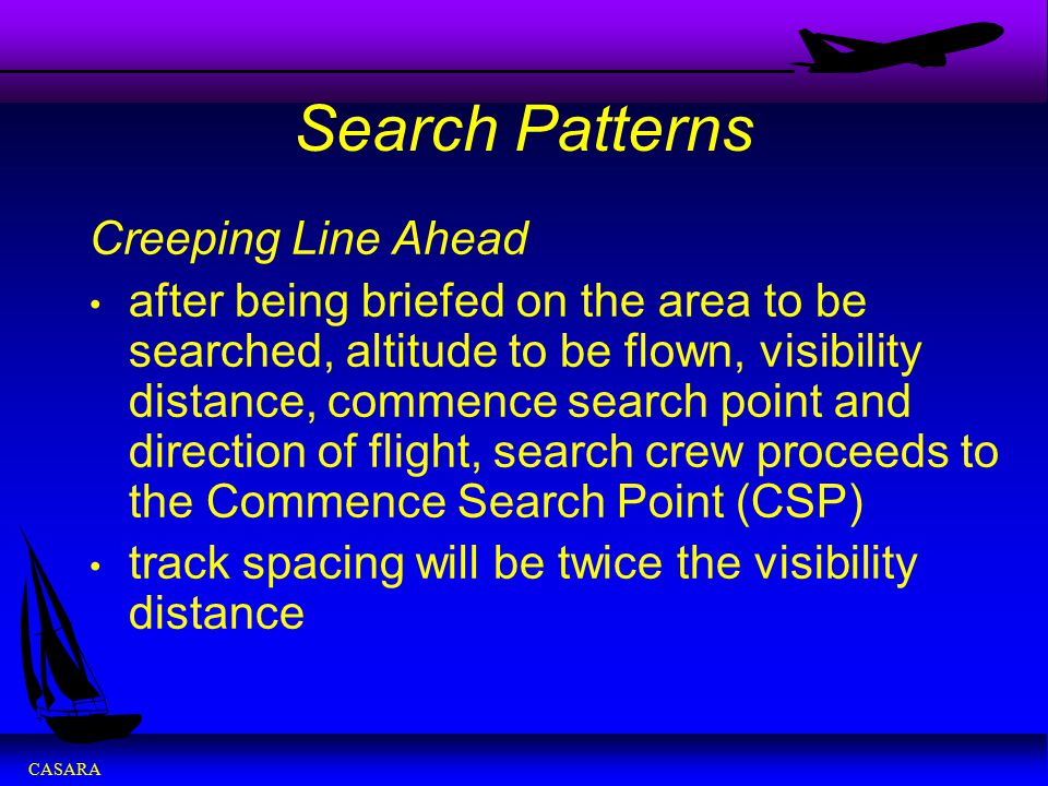 Search Patterns Creeping Line Ahead