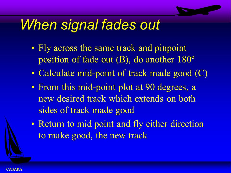 When signal fades out Fly across the same track and pinpoint position of fade out (B), do another 180º.