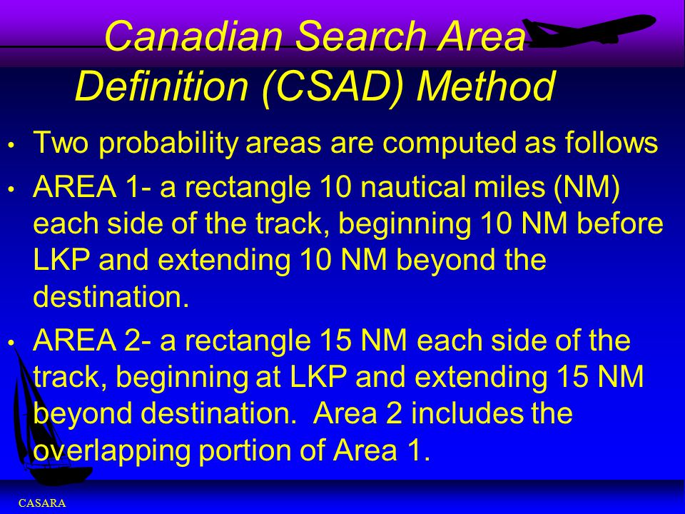 Canadian Search Area Definition (CSAD) Method