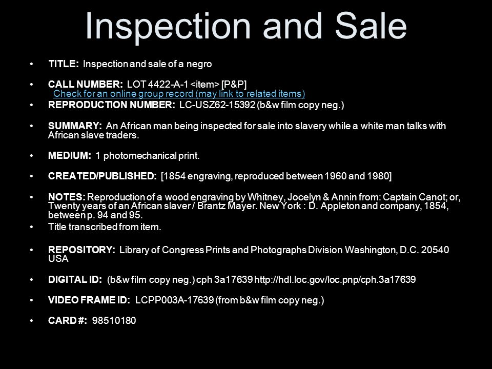 Inspection and Sale TITLE: Inspection and sale of a negro