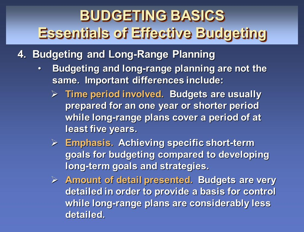 Essentials of Effective Budgeting